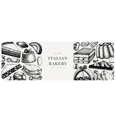 italian desserts pastries cookies banner with vector image