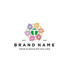 Letter t leaf colorful logo design and business vector