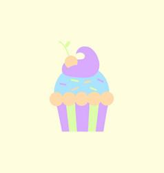 Maraschino cherry cupcake icon vector