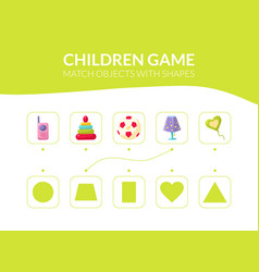 match objects with shapes educational game for vector image
