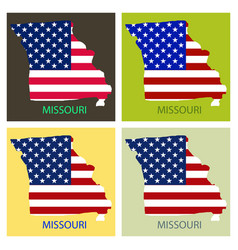 Missouri state of america with map flag print on vector