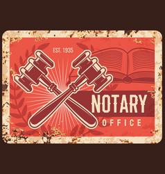 notary office metal rusty plate lawyer legal firm vector image