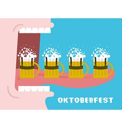 Oktoberfest poster drinking many mug of beer man vector