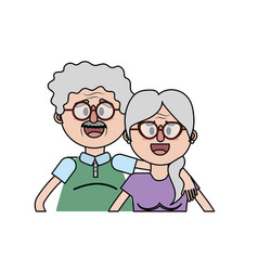old couple with hairstyle and glasses vector image