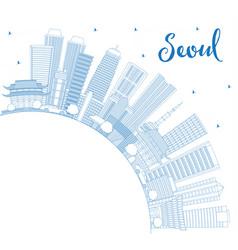 outline seoul korea skyline with blue buildings vector image