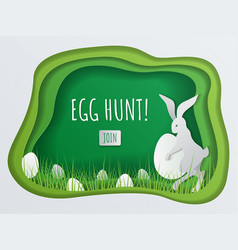 Paper cut concept easter egg hunt with bunny vector