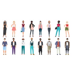 people in stylish fashion casual clothes wearing vector image