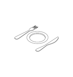Plate and cutlery icon isometric 3d style vector image