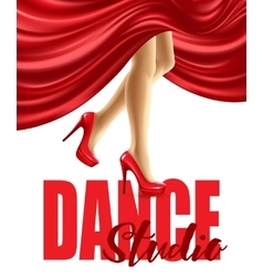 Poster for the dance studio with female legs in vector