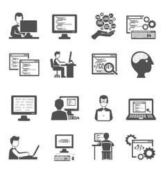 Programmer Icons Set vector image