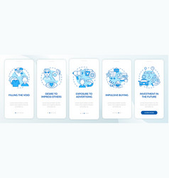 Reasons for consumerism blue onboarding mobile vector