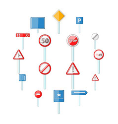 road signs icons set cartoon style vector image