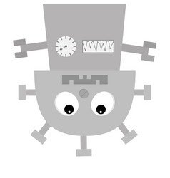 robot body hanging upside down screw nose clock vector image