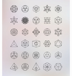 Sacred geometry Alchemy hipster symbols vector