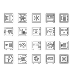 safe simple black line icons bank cell set vector image