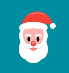 santa claus face flat icon vector image