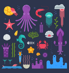 Sea invertebrates and exotic underwater creatures vector