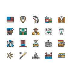 set american culture color line icons bald vector image