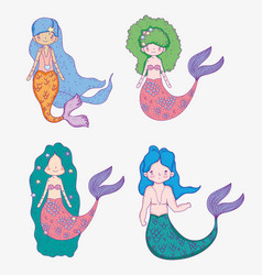 Set beauty mermaids women and man with hairstyle vector