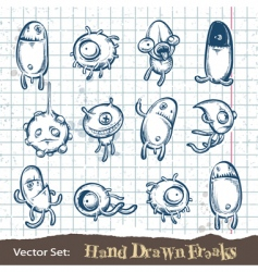 set hand drawn freaks vector image