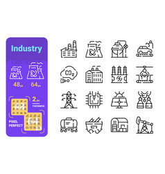 Set industry simple lines icons energy vector