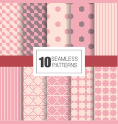 Set of 10 seamless patterns with pastel geometry vector