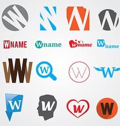 Set of alphabet symbols of letter W vector image