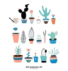 Set of cute house plants vector image