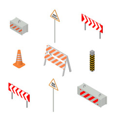 set of road signs repairs in isometric vector image