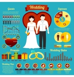 Set of wedding infographics and elements for vector image