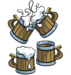 Set of wooden beer mugs vector
