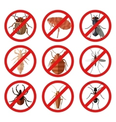 set pest insect icons vector image