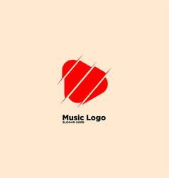 Slash media logo design template vector