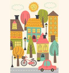 Small town urban landscape vector