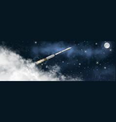 space rocket flies at angle through vector image