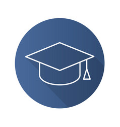 students hat flat linear long shadow icon vector image