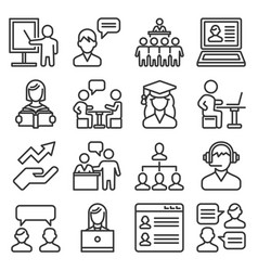 teacher and presentation icons set line style vector image