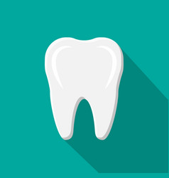 tooth icon with long shadow human teeth vector image