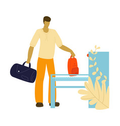 Tourist in airport with baggage traveling journey vector