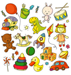 toys doodles funny children object sketches vector image