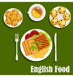 Traditional english cuisine lunch food vector