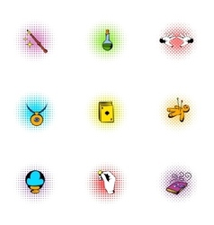 Tricks icons set pop-art style vector
