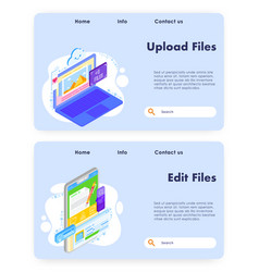 Upload files website landing page template vector