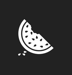 Watermelon icon juicy ripe fruit on black vector
