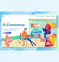 web page design template for online shopping e vector image