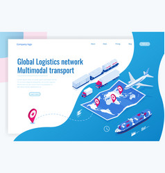 Web template banner global logistics network flat vector