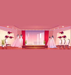 wedding shore with luxury bride dresses vector image