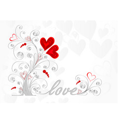 White love tree with curls and red hearts on a vector