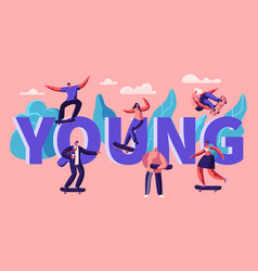 young hipster character skate skateboard banner vector image