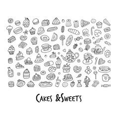 cakes and sweets collection sketch for your vector image